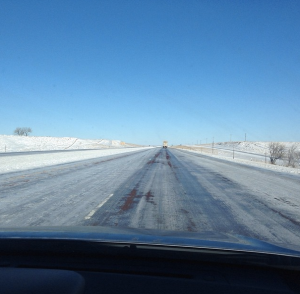 blue skies don't mean anything when traveling through Wyoming. #ice