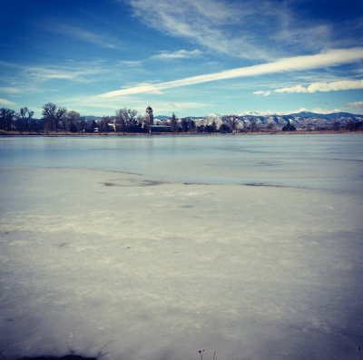Running in a tank top around an iced-over lake in my awesome neighborhood.