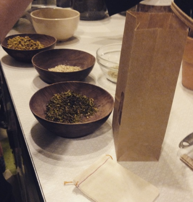 Making tea as part of Herbal Alchemy and Medicine Making class.