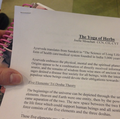 spending time learning about Doshas + herbs at Yoga of Herbs class