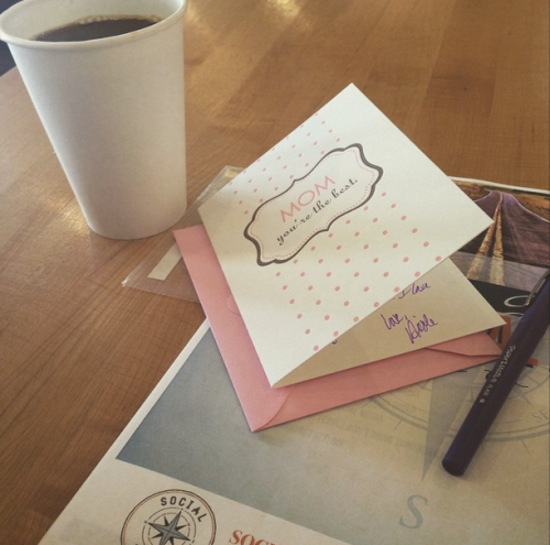 Accidentally showed up super early for a hair appointment which provided me a little downtime for coffee, writing cards and reading my friend's awesome e-book.