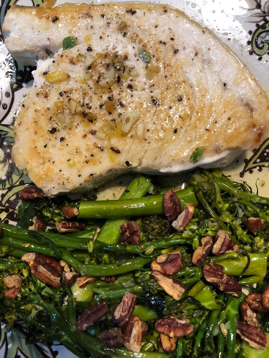 this week in our kitchen: crunchy broccolini with lemon and pecans + swordfish
